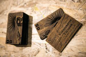 визитки лазерная гравировка